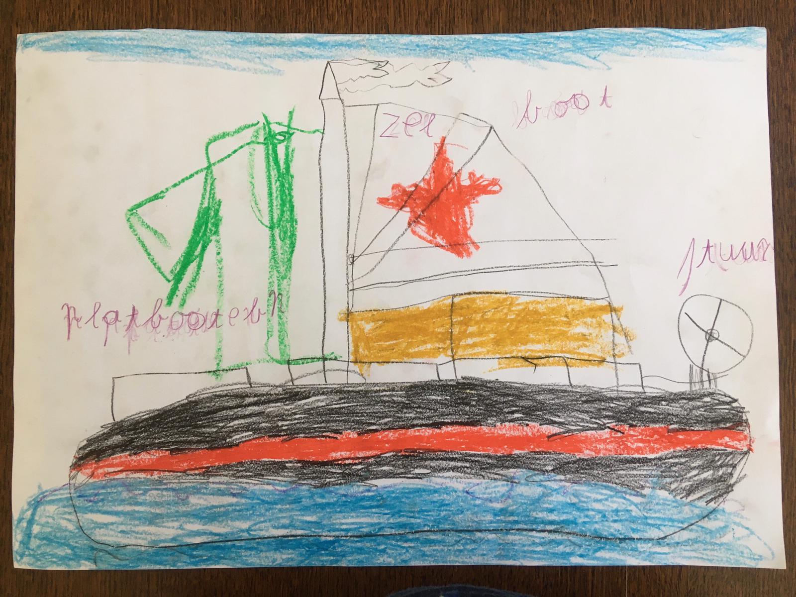 Tekening van de klipper nova cura gemaakt tijdens eilandhoppen